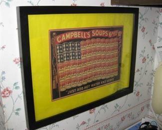 Campbells soups framed ad