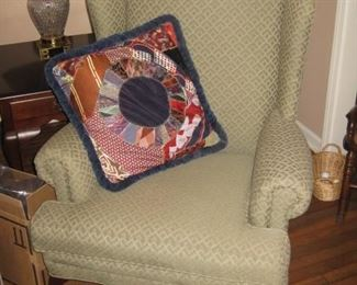 Plunkett sage wingback Queen Anne chair (There are 2)