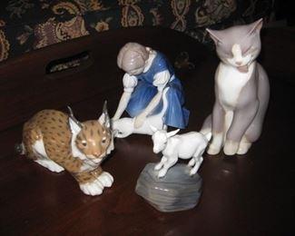 "B&G ""Girl feeding Cat"", Royal Copenhagen ""Goat Kid"", Antique Royal Copenhagen spotted cat; B&G ""Grooming Cat"