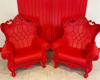 """Item 9:  (2) Children's Heavy King and Queen Chairs - 29""""l x 14.5""""w x 32""""h:  $100 for pair"""