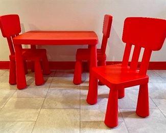 "Item 19:  Ikea Kids Table with Three Chairs:                                                                             Table - 30""l x 21""w x 19""h                                                                               Chairs - 12""l x 11.75""w x 26.5""h:  $48 set"
