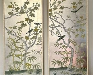"""Item 41:  (2) Asian Inspired Hand Painted Panels - 25""""l x 1.75""""w x 61""""h:  $650"""