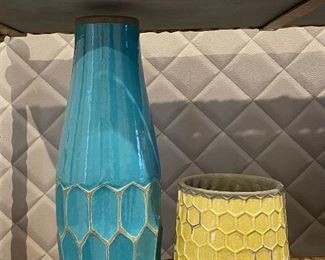 "Item 53:  (2) West Elm Vases with one Blue:  $35/Each                                                                          Largest - 3.25"" x 16"""