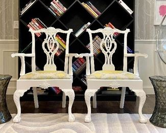 """Item 59:  (2) Chippendale Armchairs with Claw on Ball Feet - 29.5""""l x 18""""w x 40.75""""h:  $150 each"""