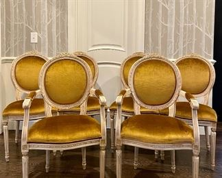 """Item 69:  (6) Vintage French Country Dining Room Chairs Upholstered in Luxe Gold Velvet:  $1600 for all                                                                                       (2) Arm Chairs - 22.5""""l x 19""""w x 39""""h                                                       (4) Chairs - 19""""l x 19""""w x 39""""h"""
