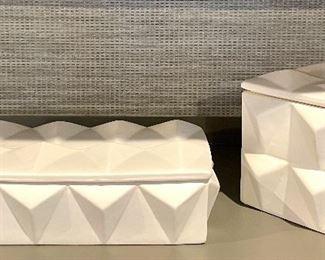 "Item 72:  Dwell Studios Rectangular Box (left) - 10"" x 2.75"":   $42                                                                                                    Item 73:  Dwell Studios Square Box (right) - 5"" x 5.5"": $42"