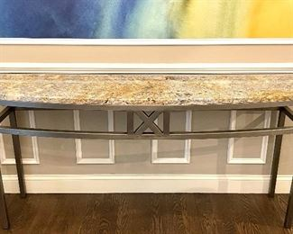 """Item 68:  Brushed Steel and Granite Console Table - 68""""l x 18.25""""w x 33.5""""h: $995"""