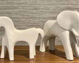 """Item 74:  Ceramic Horse (left) - 9"""" x 7.25"""":  SOLD                                                        Item 75:  Ceramic Elephant (right) - 9.5"""" x 8"""":  SOLD"""