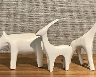 "Item 76:  Ceramic Rhino (left) - 10"" x 6"":    SOLD                                                         Item 77:  Ceramic Antelope (middle) - 6"" x 8"":  $22                                                                             Item 78:  Ceramic Giraffe (right) - 5"" x 10"": SOLD"
