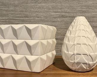 "Item 79:  Dwell Studios Square Container (left) - 8.25"" x 6.75"":   $70                                                                                                    Item 80:  Studio/A Home Vase (right) - 12.5"" x 6"":  $70"