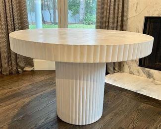 "Item 86:  White Concrete Table - 45"" x 30.25"":  $695"