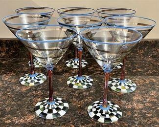 Item 92:  Set of 8 Mackenzie Childs Martini Glasses:  $485/Set