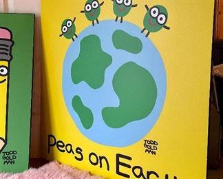 "Item 97:  Todd Goldman ""Peas on Earth"" - 29.5"" x 29.5"":  $75"