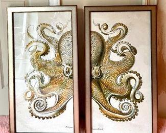 "Item 103:  (2) Octopus Prints - 16.25""l x 1.25""w x 30.25""h: $245 for pair"