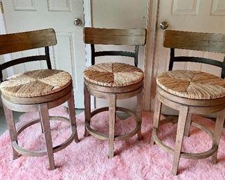 """Item 107:  (3) Hillsdale Furniture Rattan Swivel Bar Stools - 18""""l x 18""""w x 37""""h and seat height - 25"""":  $285 set"""