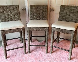 """Item 109:  (3) The Wicker Works Bar Stools - 17.5""""l x 16""""w x 41""""h and seat height - 28"""":  $375 set"""