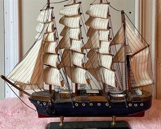 """Item 110:  """"Pamir"""" Wooden Ship - 18.5"""" x 17"""": $28"""