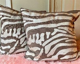 Item 115:  (2) Decorative Pillows (Brown & White):  $28