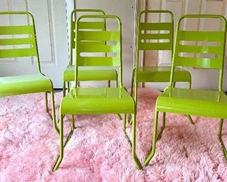 """Item 121:  (5) The Land of Nod Metal Chairs - 14""""l x 10.5""""w x 28.5""""h:  $50 each"""