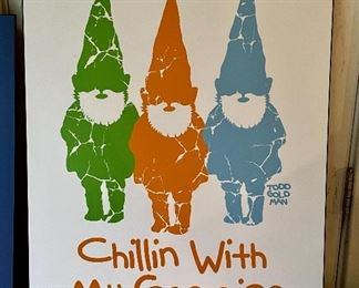 "Item 102:  Todd Goldman ""Chillin With My Gnomies"" - 24.75"" x 33.75"":  $75"