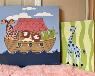 "Item 125:  Oil on Canvas Signed Joanne Coughlin (Noah's Arc left) - 24"" x 24"":   $40                                                                                                 Item 126:  Oil on Canvas Signed Joanne Coughlin (Giraffe right) - 14"" x 18"":  $32"