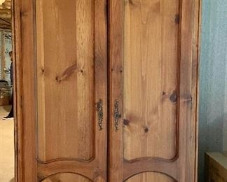 """Item 154:  Holmes County Chair Co. Pine Armoire - 45""""l x 24""""w x 77.5""""h:  $150"""