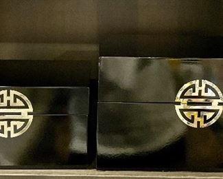 """Item 136:  Lacquer Box (left) - 9""""l x 7""""w x 4.75""""h:  $32                                                                                        Item 137:  Lacquer Box (right) - 11.5""""l x 9.5""""w x 6.5""""h:  $36"""