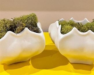"""Item 139:  (2) Studio/A Home Vases with Faux Moss - 5"""" x 3"""":  $32"""