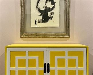 """Item 144:  Eclectic Yellow Two Door Credenza Feat. White Geometric Design - 52""""l x 20""""w x 32""""h:  $450"""