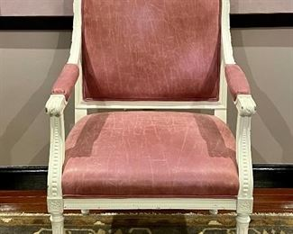 """Item 145:  Pink Leather Armchair, Ivory Painted Wood - 24""""l x 19""""w x 34.5""""h:  $175"""