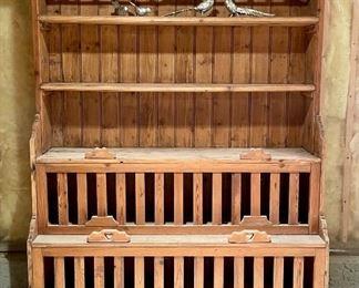 """Item 151:  Vintage Pine Hutch - 54.5""""l x 20.5""""w x 74.5""""h:  $325"""
