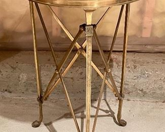 """Item 155:  Brass Side Table with Camel Feet and Black Marble Top - 17"""" x 26.75"""":  $145"""