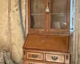 "Item 156:  Slant Front Desk with Bookcase - 28""l x 17""w x 80""h:  $225"