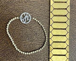Item 177:  Lot 3 Costume Jewelry: Goldtone bracelet and Love Bracelet: $12