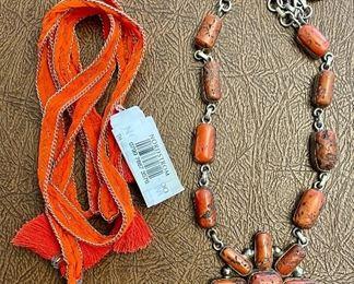 Item 178:  Lot 4 Costume Jewelry - Orange tassel ribbon and Orange Stone Necklace: $24