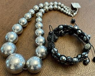 Item 179:  Lot 5 Costume Jewelry - Silver Beads and 3 Bracelets: $24