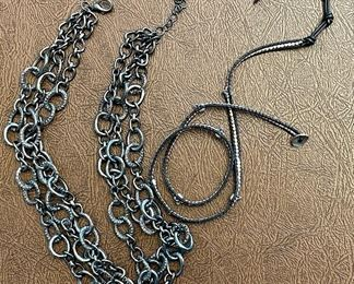 Item 183:  Lot 9 Costume Jewelry - grey metal necklace and Chan Luu Wrap Bracelet: $65