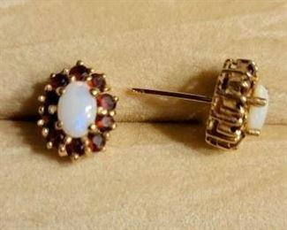 Item 162:  14K Garnet and Opal Earrings:  $150