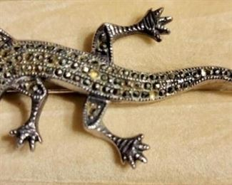 Item 169:  Sterling Marcasite Lizard (As is - might be missing a piece of marcasite): $25