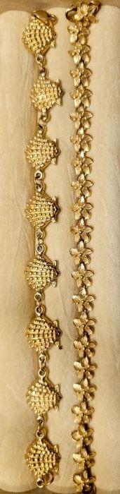 Item 170:  14K Gold Shell Bracelet:    $295                                   Item 171:  14K Gold Flower Bracelet: SOLD