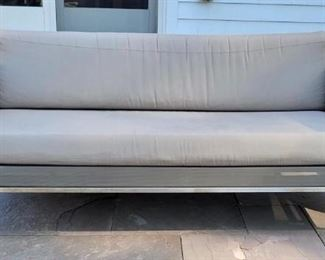 """Item 186:  Crate and Barrel Outdoor Furniture -Synthetic Mesh, Small Weave - Dune Taupe Bench Seat Sofa with Chrome Base and Sunbrella Fabric - 69""""l x 21.5""""w x 24""""h:  $655"""