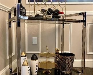 """Item 70:  Contemporary Chrome Bar Cart (items on cart not included) - 32""""l x 18""""w x 33""""h:  $295"""