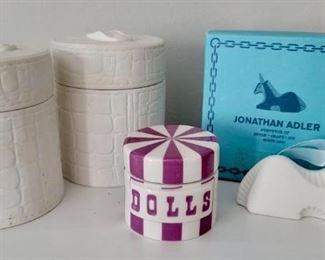 """Item 220:  (2) Jonathan Adler Covered Trinket Jars - 3.75"""":  $32/Each                                                                                                          Item 221:  Jonathan Adler """"Dolls"""" Jar - 2"""":  SOLD                                   Item 222:  Jonathan Adler Unicorn Ornament:  SOLD"""