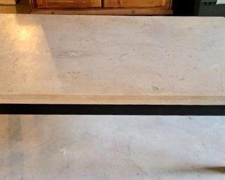 Item 234: Crate & Barrel: Parsons Travertine Top/ Dark Steel Base 48x28 x 17.5h Small Rectangular Coffee Table: