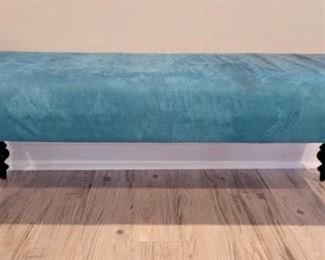 "Item 232:  Aqua Upholstered Bench - 50""l x 19""w x 17.5""h:  $145"