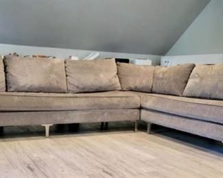 """Item 219:  Kravet Furniture Sofa with Chaise:  $595                              Long Section - 88""""l x 22.5""""w x 24""""h                                                           Chaise - 89""""l x 24""""h"""