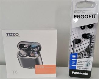 Item 249:  Tozo Earbuds (left - new in box!):  $15                                                                                          Item 250:  Panasonic Ergofit Earbuds (right - new in box!):  $12