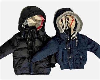 Item 217:  Kids Black Burberry Coat (left):    $75 (SOLD)                                  Item 218:  Kids Navy Burberry Coat (right):  $65