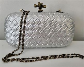 Item 210:  Silver Leather Evening Bag:  $24