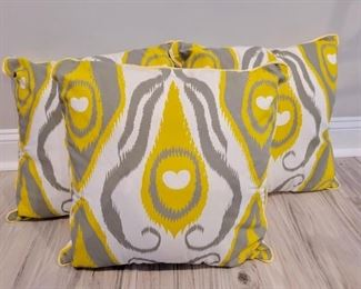 Item 263:  Lot of Decorative Pillows - Yellow and Gray:  $30
